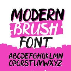 Modern trendy hand drawn alphabet. Grunge font.