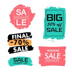 Set of creative sale grunge banners, frames, stickers, backgrounds. Hand drawn textures and design elements.