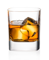 Wall Mural - Glass of whiskey and ice on a white background