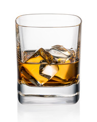 Fototapete - Glass of whiskey and ice on a white background