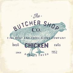 Butcher Shop vintage emblem, chiken meat products, butchery Logo template retro style. Vintage Design for Logotype, Label, Badge and brand design. vector illustration.