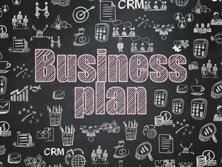 Business concept: Business Plan on School board background