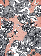 paper structure background with floral pattern