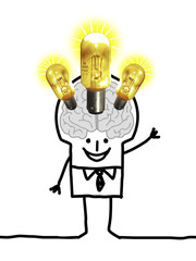 Cartoon Big Brain Man - lights and ideas