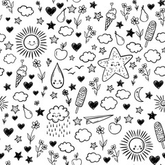 Seamless pattern with cloud, ice-cream, flowers, sun, star. Vector cartoon kids background. Doodle drawing.