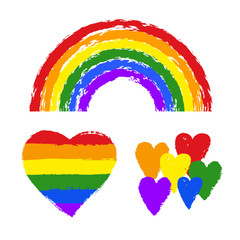 Vector gay pride design elements: flag, rainbow, heart, ribbon, smear. LGBT, gay and lesbian pride symbols, icons. Hand drawn paint strokes isolated on white background. LGBT concept.