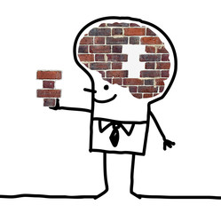Cartoon Big Brain Man - wall and puzzle