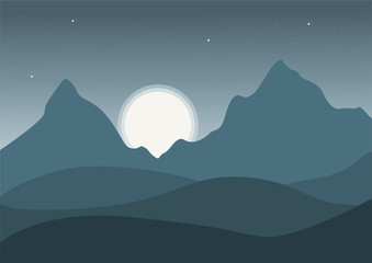 Night mountain landscape with stars and moon - vector