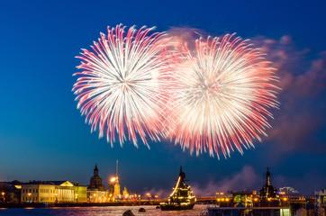 Salute fireworks explosions city night lights Saint-Petersburg