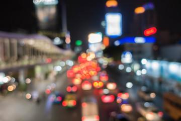 Abstact blur bokeh of Evening traffic jam on road ,Bangkok, Thai