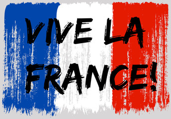 French flag paint brush strokes, Vive la France