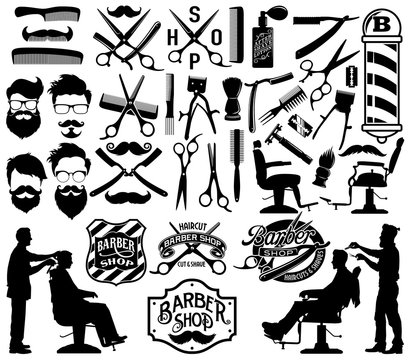 Men Barber shop labels, silhouettes and icon elements vector collection