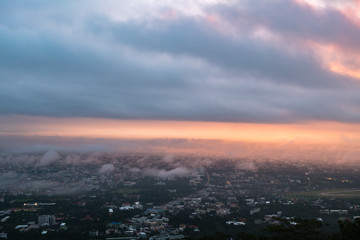 Sunrise at city of Chiang mai, Doi suthep Chiang Mai Thailand.