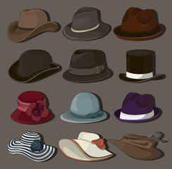 Vector set of man and woman hats
