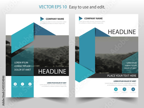 Blue Triangle Vector Business Proposal Leaflet Brochure Flyer