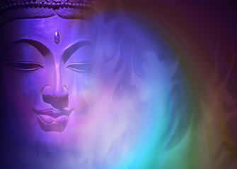 Obraz Mystical Buddha Background - ethereal colored gaseous vapors rising up with a partial Buddha head emerging from the darkness on left side and copy space on right - fototapety do salonu
