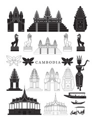 Cambodia Landmarks and Culture Object Set, Design Elements, Black and White, Line and Silhouette