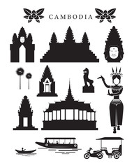 Cambodia Landmarks and Culture Object Set, Design Elements, Black and White, Silhouette