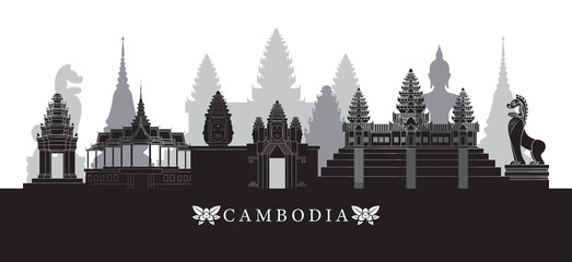 Cambodia Landmarks Skyline in Black and White, Cityscape, Travel and Tourist Attraction