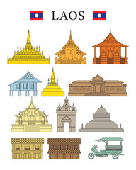 Laos Landmarks and Culture Object Set, Design Elements, Colourful, Line and Shape