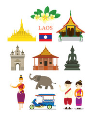 Laos Landmarks and Culture Object Set, Design Elements, Travel and Tourist Attraction