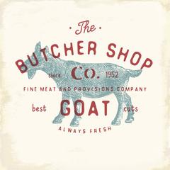 Butcher Shop vintage emblem goat meat products, butchery Logo template retro style. Vintage Design for Logotype, Label, Badge and brand design. vector illustration