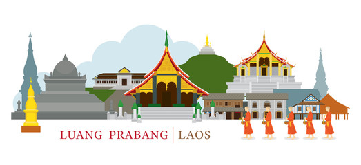 Luang Prabang, Laos, Landmarks and Monks on Alms Round, Culture, Travel and Tourist Attraction