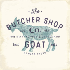 Butcher Shop vintage emblem goat meat products, butchery Logo template retro style. Vintage Design for Logotype, Label, Badge and brand design. vector illustration