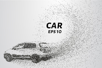 Car from the particles. The car consists of circles and points. Vector illustration
