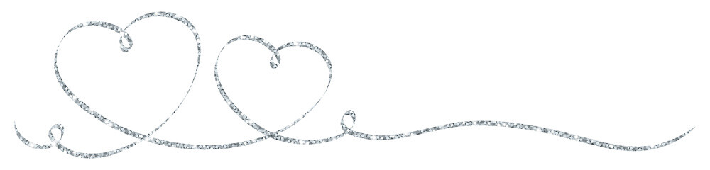 2 Silver Calligraphy Hearts Ribbon Banner
