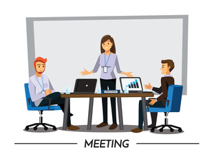 Business People Having Board Meeting,Vector illustration cartoon