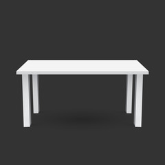 Vector 3d table for object presentation. Empty white top table isolated on black background.