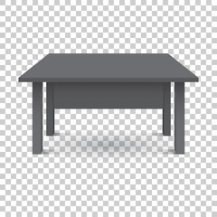 Vector 3d table for object presentation. Empty black top table on isolated background.