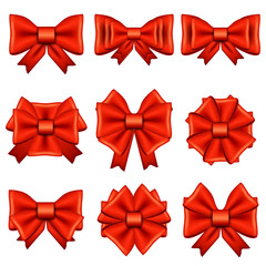 Different red bows isolated vector