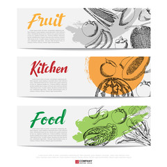 Food hand draw banner