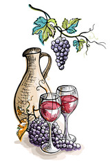 Watercolor jug and glasses of wine and grapes isolated on white in graphic style hand-drawn vector illustration.