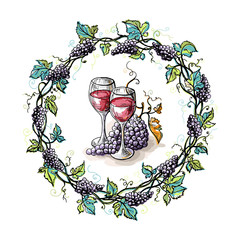 Watercolor wreath from grape and leaves and glasses in graphic style hand-drawn vector illustration.