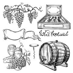 Wine set in graphic style hand-drawn vector illustration