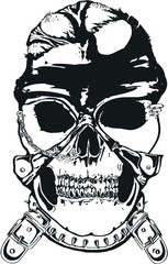 Vector evil skull with mask outline