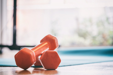 Pair of dumbbells on a wooden floor
