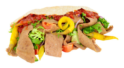 Doner Kebab And Salad In Pitta Bread