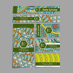 Set of vector design templates. Frames and backgrounds. Zentangle designs.