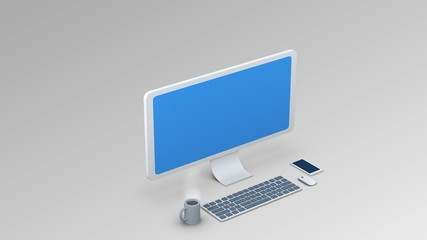 isometric computer illustration. Display / Keyboard / Mouse for use in presentations, education manuals, design, etc