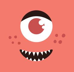 Monster face cartoon creature avatar illustration vector stock