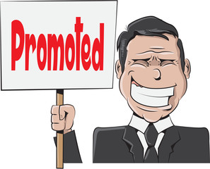 Illustration of a businessman holding a sign