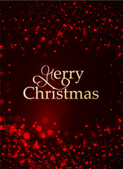 Merry Christmas lettering on a blurred red background with sparkles
