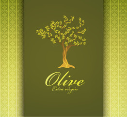 Olive Tree label, vector background.