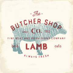 Butcher Shop vintage emblem lamb meat products, butchery Logo template retro style. Vintage Design for Logotype, Label, Badge and brand design. vector illustration.
