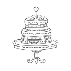Vector wedding cake for Wedding invitations or announcements. Cartoon cake