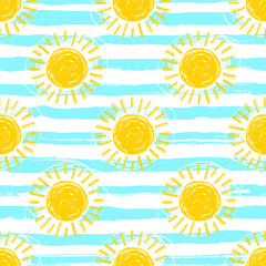 Sun pattern seamless, striped background. Hand drawn yellow sunshine icons. Cute hand-drawn summer symbols, Vector sketch